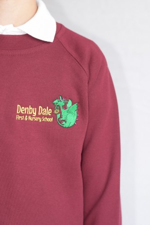 Denby Dale First & Nursery School Maroon Crew Neck Sweatshirt Jumper (Including School logo) Zeco Brand