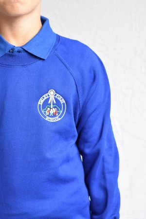 Emley First School Blue Crew Neck Sweatshirt Jumper (Including School logo) Zeco Brand