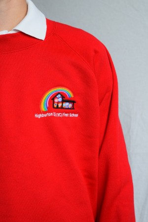 Highburton First School Red Crew Neck Sweatshirt Jumper (Including School logo) Zeco Brand