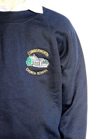 Cumberworth First School Blue Crew Neck Sweatshirt Jumper (Including School logo) Zeco Brand
