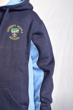 Scissett Middle School Panelled unisex hoodie top Navy Blue with School logo
