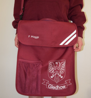 Gledhow School Embroidered Portrait Book Bag with bottle holder and shoulder strap