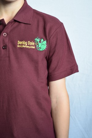 Denby Dale First & Nursery School Polo Shirt Maroon (Including School logo)