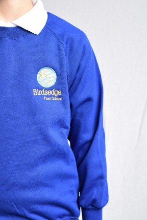 Birdsedge First School Blue Crew Neck Sweatshirt Jumper (Including School logo)