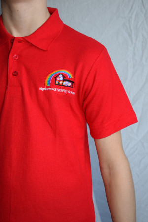 Highburton First School Polo Shirt Red (Including School logo)