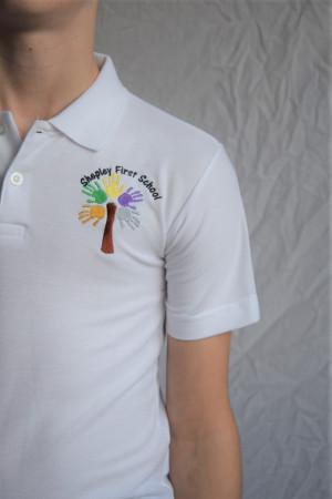 Shepley First School Polo Shirt White (Including school logo)