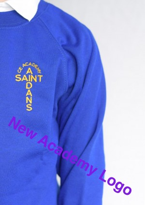 St Aidan's Academy Royal Blue Crew Neck Sweatshirt Jumper (Including Academy logo) Zeco Brand