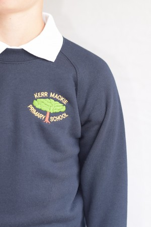 Kerr Mackie Primary School Navy Blue Crew Neck Sweatshirt Jumper (Including School logo)