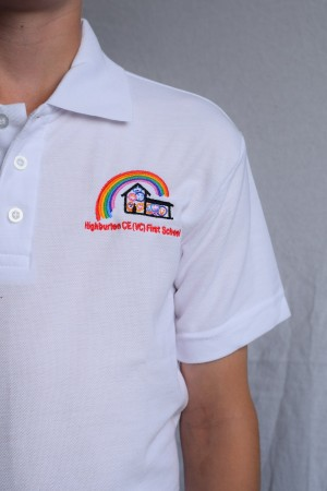 Highburton First School Polo Shirt White (Including School logo)