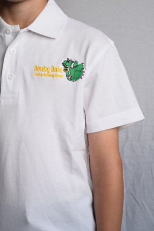 Denby Dale First & Nursery School Polo Shirt White (Including School logo)