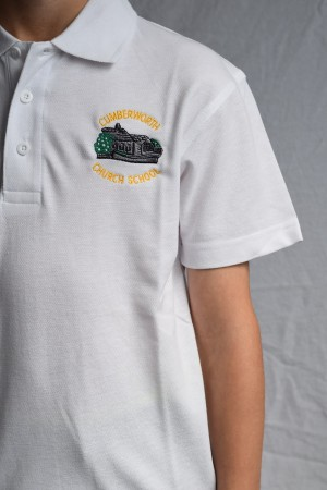 Cumberworth First School Polo Shirt White (Including School logo)