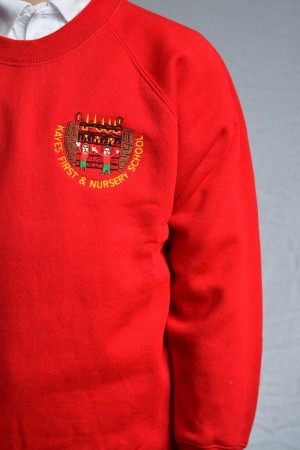Kayes First & Nursery School Red Crew Neck Sweatshirt Jumper (Including School logo) Zeco Brand