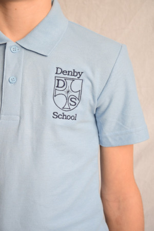 Denby C of E School polo Shirt Sky Blue (Including School logo)