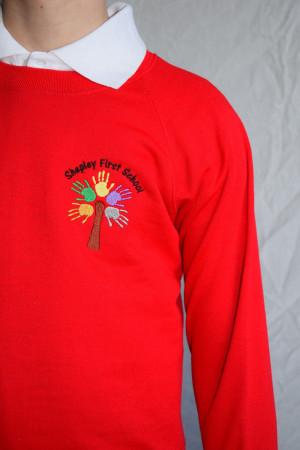 Shepley First School Red Crew Neck Sweatshirt Jumper (Including School logo) Zeco Brand