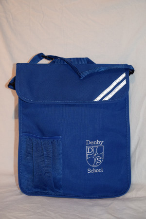 Denby C of E School Embroidered Portrait Book Bag with bottle holder and shoulder strap (Including school logo)