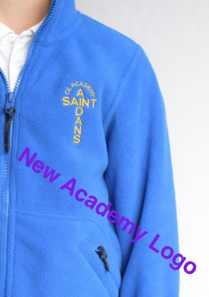 St Aidan's Academy Royal Blue Zip Fleece (Including Academy logo)