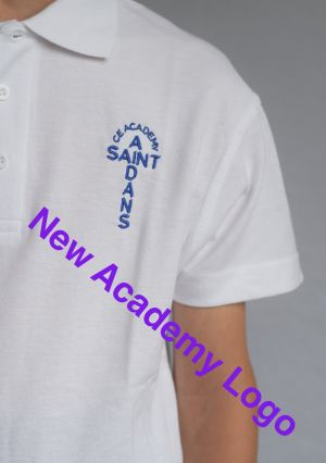 St Aidan's Academy Polo Shirt White (Including Academy logo)